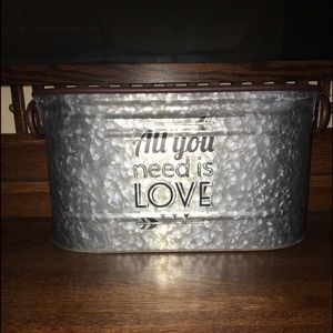 All You Need is Love Galvanized Handled Bucket